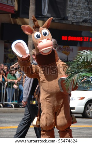 "HOLLYWOOD, CA - JUNE 13: Toy Story Character ""Bullseye"" at the World Premiere of Disney/Pixar's 'Toy Story 3' on June 13, 2010 at the El Capitan Theatre in Hollywood, California. - stock photo"