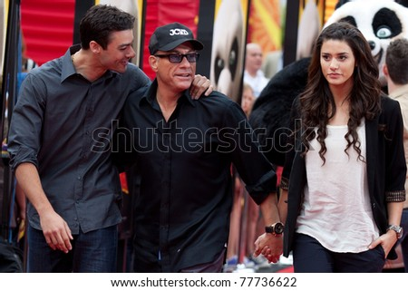 HOLLYWOOD, CA. - MAY 22: Jean Claude van Damme (mid) and family arrive at the Los Angeles premiere of Kung Fu Panda 2 at Grauman's Chinese Theatre on May 22, 2011 in Hollywood, California.