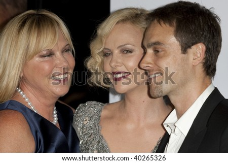 HOLLYWOOD, CA. - NOVEMBER 4: Mother Gerda (L) Charlize Theron (M) & Stuart Townsend (R) attend the AFI Fest screening of The Road at The Grauman's Chinese Theater on November 4, 2009 in Hollywood.