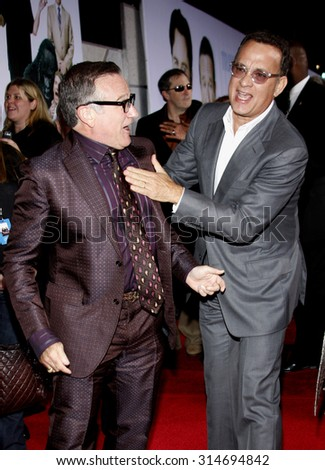 HOLLYWOOD, CA - NOVEMBER 09, 2009: Robin Williams and Tom Hanks at the World premiere of 'Old Dogs' held at the El Capitan Theater in Hollywood, USA on November 9, 2009. - stock photo