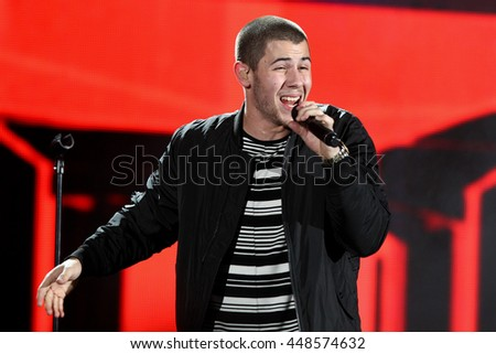 HOLLYWOOD, CA-OCT 24: Nick Jonas performs onstage during CBS RADIOs third annual We Can Survive, presented by Chrysler, at the Hollywood Bowl on October 24, 2015 in Hollywood, California. - stock photo