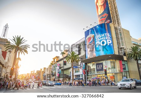 HOLLYWOOD,CA - OCTOBER 11, 2015: Walk of Fame at sunset on Hollywood Boulevard. In 1958, the Hollywood Walk of Fame was created as a tribute to artists working in the entertainment industry. - stock photo