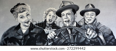 HOLLYWOOD CA USA APRIL 13 2015: I love Lucy mural by Jerry Ragg. I Love Lucy is an American television sitcom starring Lucille Ball, Desi Arnaz, Vivian Vance, and William Frawley - stock photo