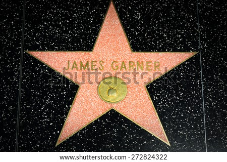 HOLLYWOOD, CA/USA - APRIL 18, 2015: James Garner star on the Hollywood Walk of Fame is made up of brass stars embedded in the sidewalks on Hollywood Blvd. - stock photo
