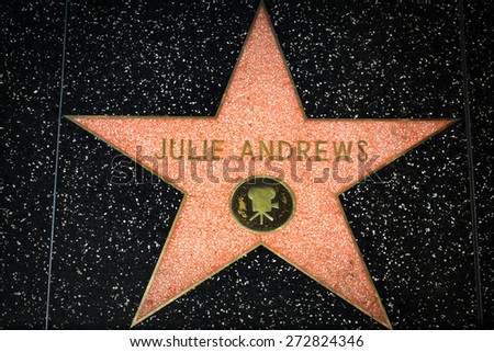 HOLLYWOOD, CA/USA - APRIL 18, 2015: Julie Andrews star on the Hollywood Walk of Fame. The Hollywood Walk of Fame is made up of brass stars embedded in the sidewalks on Hollywood Blvd. - stock photo