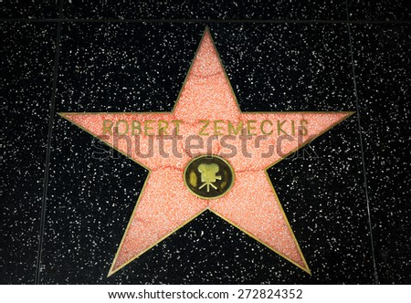 HOLLYWOOD, CA/USA - APRIL 18, 2015: Robert Zemeckis star on the Hollywood Walk of Fame. The Hollywood Walk of Fame is made up of brass stars embedded in the sidewalks on Hollywood Blvd. - stock photo