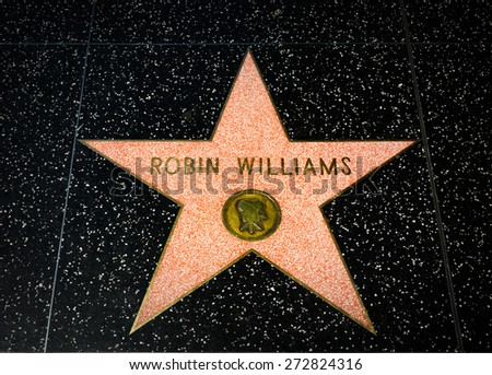 HOLLYWOOD, CA/USA - APRIL 18, 2015: Robin Williams star on the Hollywood Walk of Fame. The Hollywood Walk of Fame is made up of brass stars embedded in the sidewalks on Hollywood Blvd. - stock photo