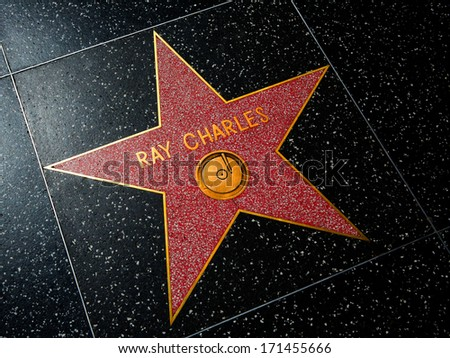 HOLLYWOOD, CALIFORNIA - APRIL 12, 2013: Ray Charles Star on Hollywood Walk of Fame in Hollywood California on April 2013. Red star is one of the 2400 celebrity stars located on Hollywood Boulevard.