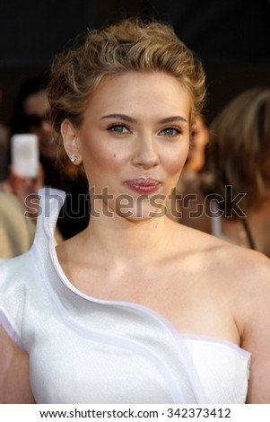 "HOLLYWOOD, CALIFORNIA - April 26, 2010. Scarlett Johansson at the World premiere of ""Iron Man 2"" held at the El Capitan Theater, Hollywood.  - stock photo"