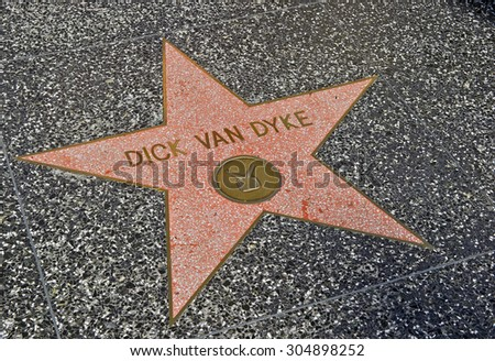 "HOLLYWOOD - CALIFORNIA, AUG. 15, 2014: Terrazzo & Brass embedded in the sidewalk on ""Hollywood Walk of Fame"" honoring actor Dick Van Dyke on Hollywood Boulevard in Hollywood, California USA - stock photo"