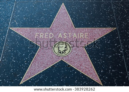 HOLLYWOOD, CALIFORNIA - February 8 2015: Fred Astaire's Hollywood Walk of Fame star on February 8, 2015 in Hollywood, CA.