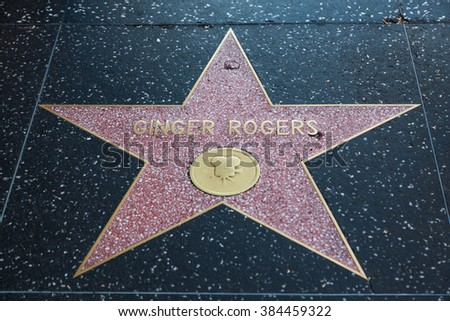 HOLLYWOOD, CALIFORNIA - February 8 2015: Ginger Rogers' Hollywood Walk of Fame star on February 8, 2015 in Hollywood, CA.