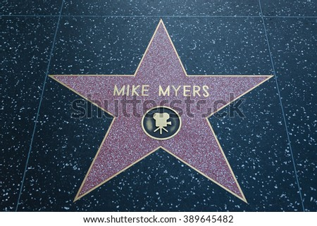 HOLLYWOOD, CALIFORNIA - February 8 2015: Mike Myers' Hollywood Walk of Fame star on February 8, 2015 in Hollywood, CA.