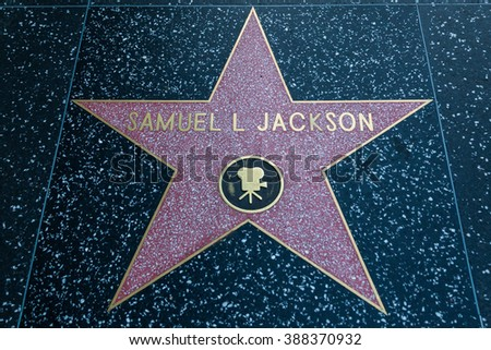 HOLLYWOOD, CALIFORNIA - February 8 2015: Samuel L Jackson's Hollywood Walk of Fame star on February 8, 2015 in Hollywood, CA.