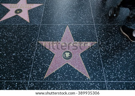 HOLLYWOOD, CALIFORNIA - February 8 2015: Woody Woodpecker's Hollywood Walk of Fame star on February 8, 2015 in Hollywood, CA.
