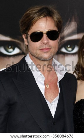 """HOLLYWOOD, CALIFORNIA - July 19, 2010. Brad Pitt at the Los Angeles premiere of """"Salt"""" held at the Grauman's Chinese Theater, Los Angeles.   - stock photo"""
