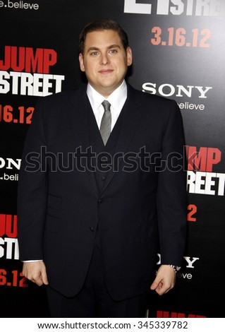 "HOLLYWOOD, CALIFORNIA - March 13, 2012. Jonah Hill at the Los Angeles premiere of ""21 Jump Street"" held at the Grauman's Chinese Theater, Los Angeles.  - stock photo"
