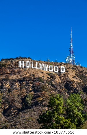 HOLLYWOOD CALIFORNIA - SEPT 19: The world famous landmark Hollywood Sign on September 19, 2013, Los Angeles, California. - stock photo