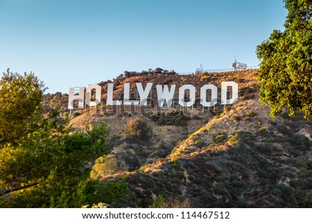 HOLLYWOOD CALIFORNIA - SEPTEMBER 24: The world famous landmark Hollywood Sign on September 24, 2012 in Los Angeles, California. - stock photo
