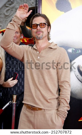 "HOLLYWOOD, CALIFORNIA - Sunday May 22, 2011. Brad Pitt at the Los Angeles premiere of ""Kung Fu Panda 2"" held at the Grauman's Chinese Theater, Los Angeles.  - stock photo"