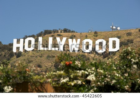 HOLLYWOOD - CALIFORNIA 2010: The Hollywood sign, built in 1923, is shown as Hollywood gets ready to host the 82nd Academy Awards. Photo taken on April 17, 2009, in Hollywood, California. - stock photo
