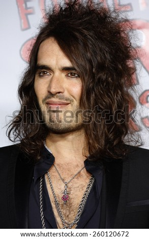 """HOLLYWOOD, CALIFORNIA. Thursday April 10, 2008. Russell Brand attends the World Premiere of """"Forgetting Sarah Marshall"""" held at the Grauman's Chinese Theater in Hollywood, California United States.  - stock photo"""