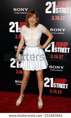 "HOLLYWOOD, CALIFORNIA - Tuesday March 13, 2012. Brie Larson at the Los Angeles premiere of ""21 Jump Street"" held at the Grauman's Chinese Theater, Los Angeles.  - stock photo"
