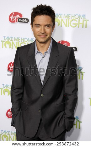 "HOLLYWOOD, CALIFORNIA - Tuesday March 2, 2011. Topher Grace at the Los Angeles premiere of ""Take Me Home Tonight"" held at the LA Live Stadium, Los Angeles."