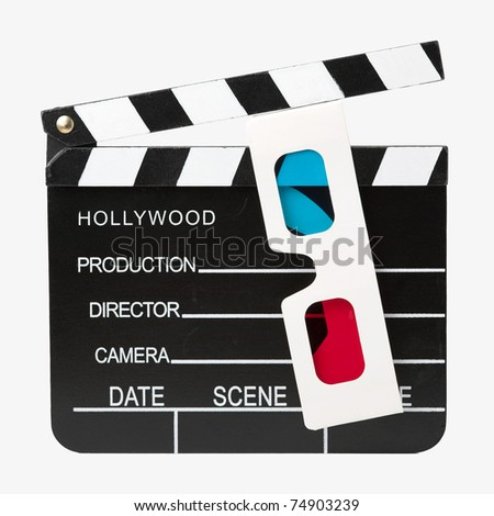 Hollywood clapper board with 3d glasses - isolated with clipping path - stock photo