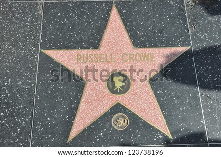 HOLLYWOOD - DECEMBER 7: Russell Crowe's star on Hollywood Walk of Fame on December 7, 2012 in Hollywood, California. This star is located on Hollywood Blvd. and is one of 2400 celebrity stars.