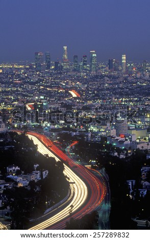 Hollywood Freeway and city view from Mulholland Drive, Los Angeles, California - stock photo