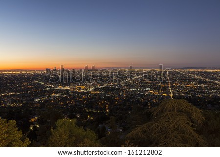 Hollywood Hills view of the City of Los Angeles before dawn.   - stock photo