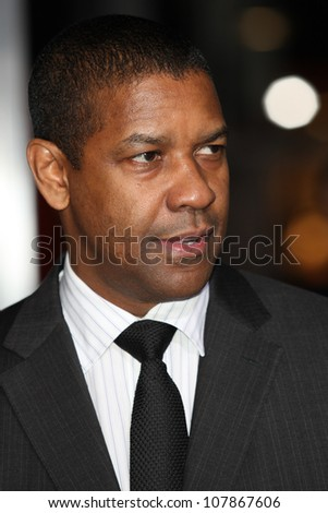 HOLLYWOOD - JAN 11:  Denzel Washington attends The Book of Eli premiere on January 11 2010 at Grauman's Chinese Theater in Hollywood, California. - stock photo