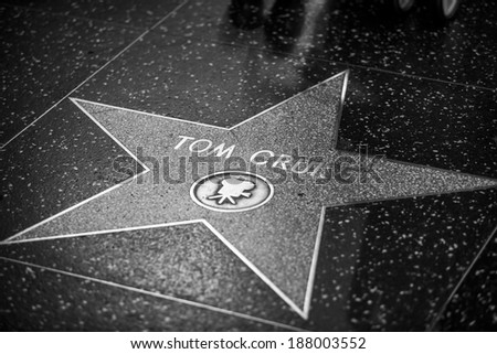 HOLLYWOOD - JANUARY 3: Tom Cruise's star on Hollywood Walk of Fame on January 3, 2014 in Hollywood, California. This star is located on Hollywood Blvd. and is one of 2400 celebrity stars. - stock photo