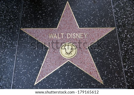 HOLLYWOOD - JANUARY 23: Walt Disney's star on Hollywood Walk of Fame on January 23, 2014 in Hollywood, California. This star is located on Hollywood Blvd. and is one of 2400 celebrity stars. - stock photo