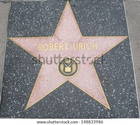 HOLLYWOOD - JULY 11: Robert Urich's star on Hollywood Walk of Fame on July 11, 2013 in Hollywood, California. This star is located on Hollywood Blvd. and is one of 2400 celebrity stars.