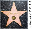 HOLLYWOOD - JUNE 26: Meryl Streep's star on Hollywood Walk of Fame on June 26, 2012 in Hollywood, California. This star is located on Hollywood Blvd. and is one of 2400 celebrity stars. - stock photo
