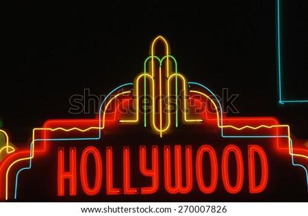 Hollywood neon sign, Los Angeles, California - stock photo