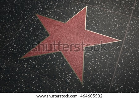Hollywood no names/empty marble red star -3d illustration