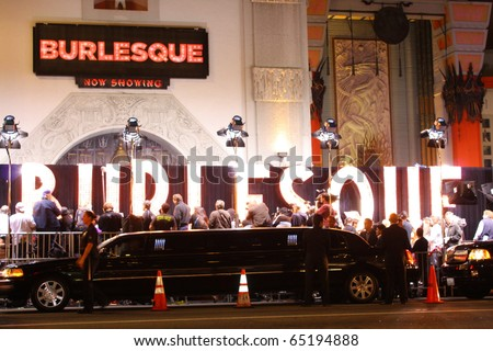 HOLLYWOOD - NOVEMBER 15: sign at the premiere of the movie Burlesque at Grauman's Chinese Theatre November 15, 2010 Hollywood, CA. - stock photo