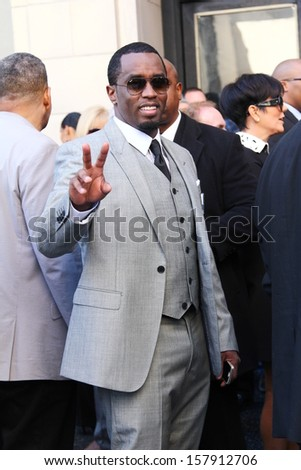 "HOLLYWOOD-OCTOBER 10, 2013: Sean ""Puffy"" Combs attends Hollywood Walk of Fame ceremony for Kenneth ""Babyface"" Edmonds October 10, 2013 Hollywood, CA."