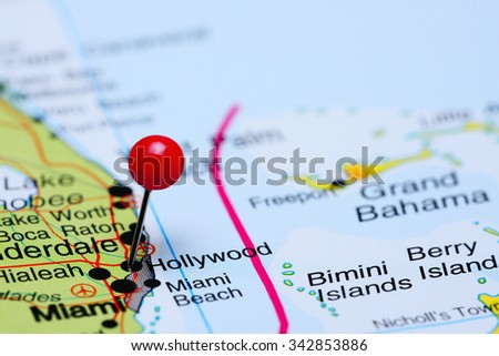 Hollywood pinned on a map of USA  - stock photo