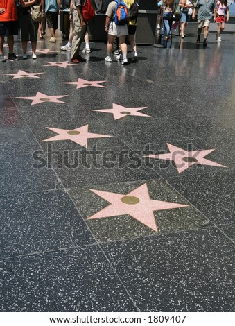 Hollywood stars on the walk of fame in Los Angeles, California - stock photo