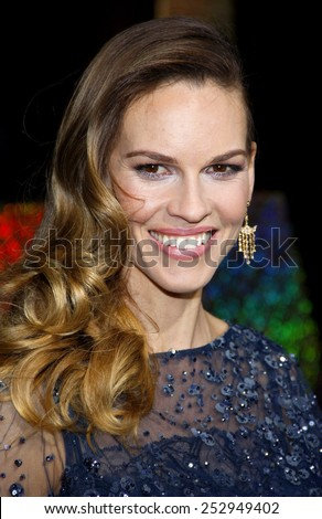 "HOLLYWOOD, USA - DECEMBER 5: Hilary Swank at the Los Angeles Premiere of ""New Year's Eve"" held at the Grauman's Chinese Theatre in Los Angeles, USA on December 5, 2011. - stock photo"