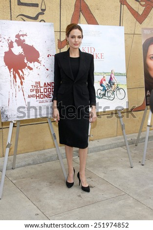 HOLLYWOOD, USA - JANUARY 14: Angelina Jolie at the 2012 Golden Globe Foreign Language Film Panel Discussion held at the Egyptian Theatre in Los Angeles, USA on January 14, 2012. - stock photo