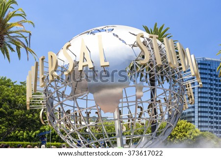 Hollywood- USA, July 16, 2014: Universal Studios Sign Seen at Universal Studios in Los Angeles in July 16, 2014, United States Of America