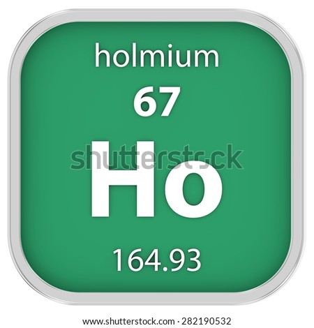 Holmium material on the periodic table. Part of a series. - stock photo