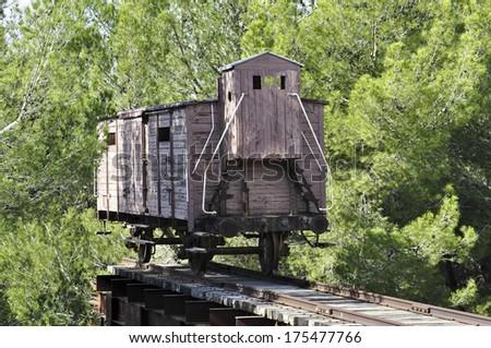 Holocaust train at Yad Vashem in Jerusalem - stock photo