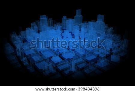 hologram city loop - stock photo