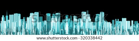 Hologram city panorama / 3D render of glowing holographic view of modern city - stock photo